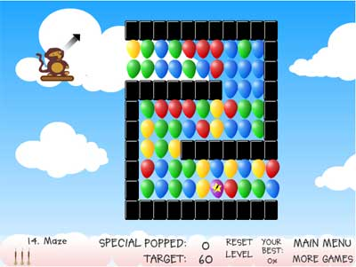 Screenshot of Bloons game